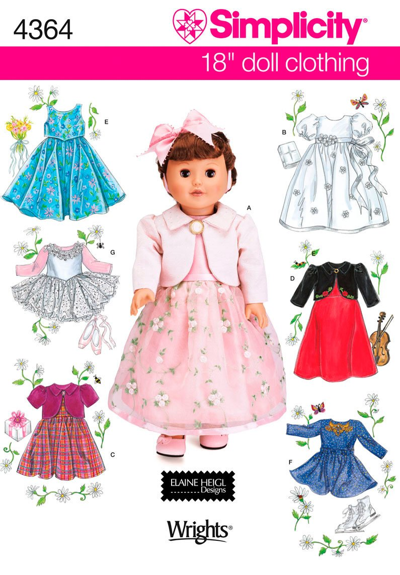 Simplicity Sewing Pattern 4364 One Size Doll Clothes 496029
