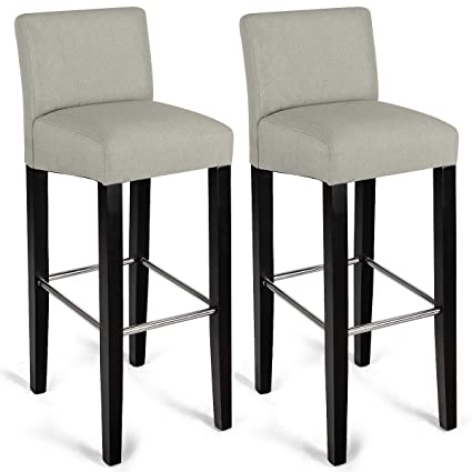 COSTWAY 40 Fabric Bar Stool Modern Contemporary Height Backed Padded Seat Pub