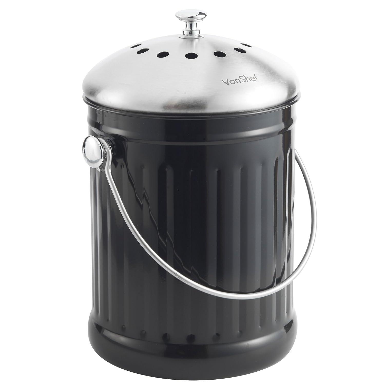 VonShef Cubo de Basura de 4.5lt de Acero Inoxidable + Filtro Absorbente de Olores para Residuos de Comida: Amazon.es: Hogar