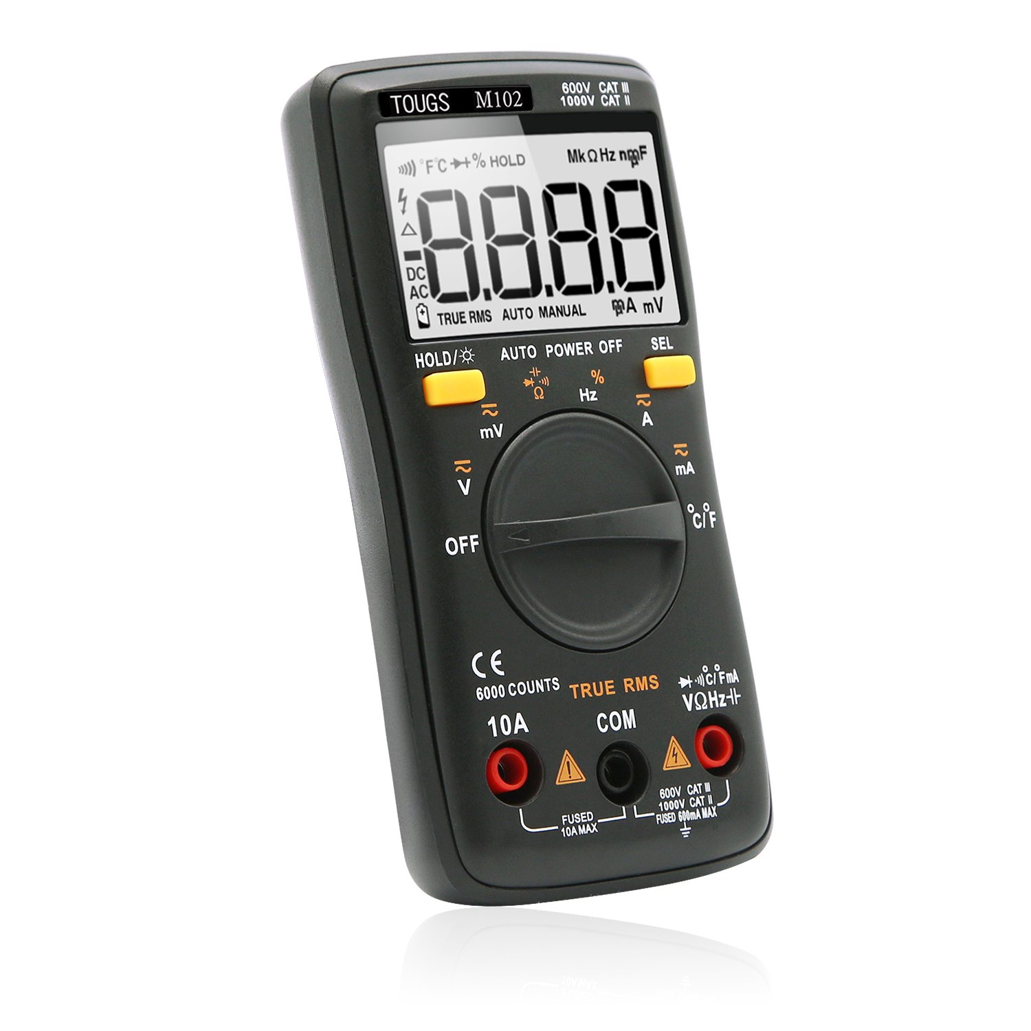 TOUGS M102 Compact True-RMS Digital Multimeter Auto-Ranging 6000 Counts Electronic Measuring Instrument Multi Meter with Self-Calibration Chip and Backlight