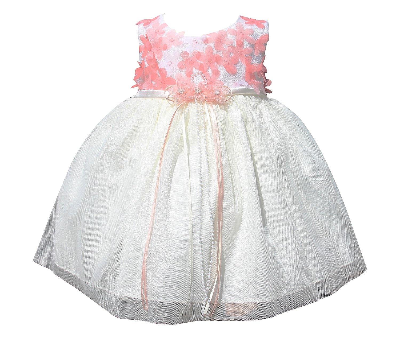 BIMARO Baby Mädchen Babykleid Cecile creme beige mit koralle Blumen ...