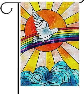 YATELI Garden Yard Flag ShineSnow White Dove Flying Over Rainbow 12