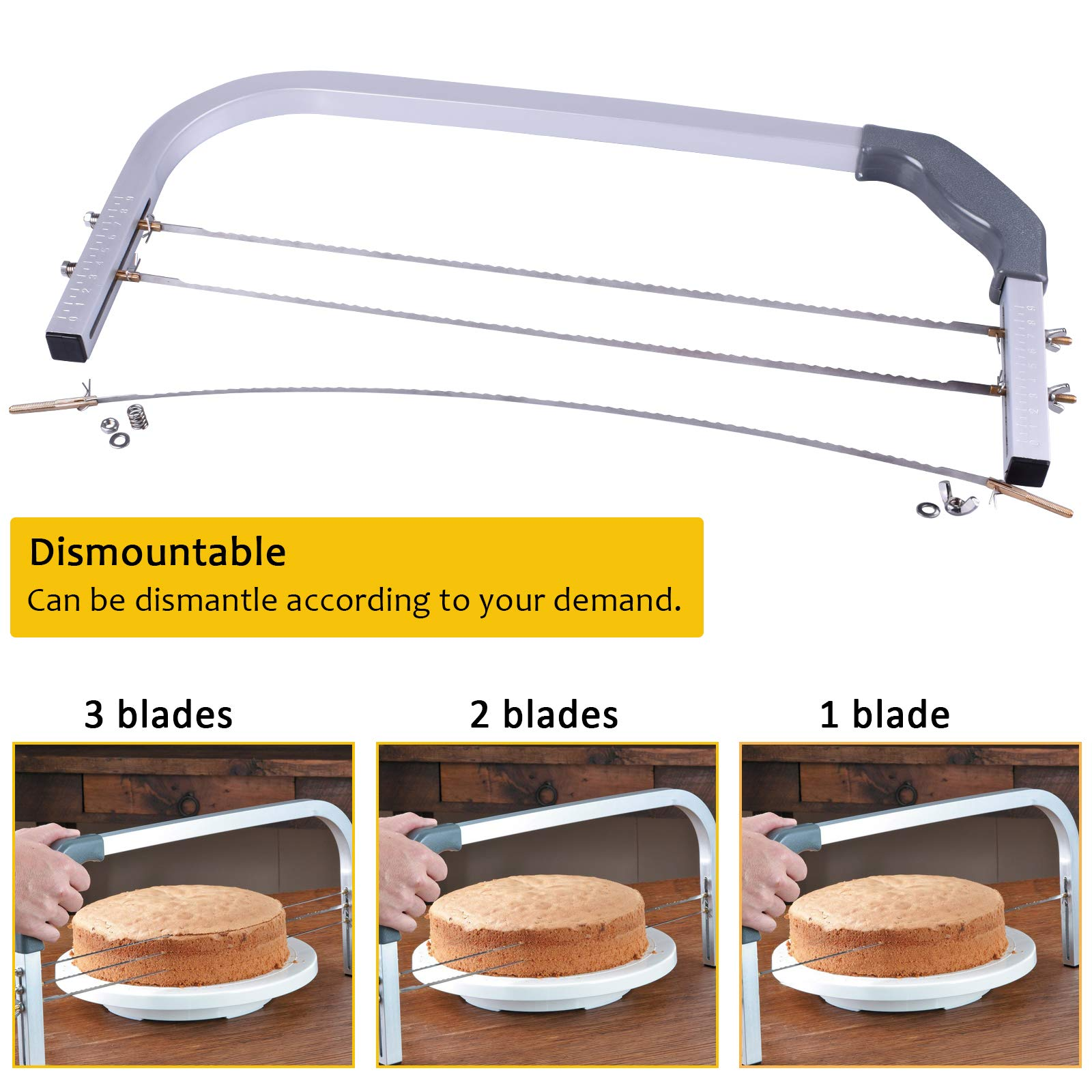 Bonviee Adjustable Cake Leveler Professional Layer Cake Slicer Cutter 3 Blades Stainless Steel Cut Saw 18\