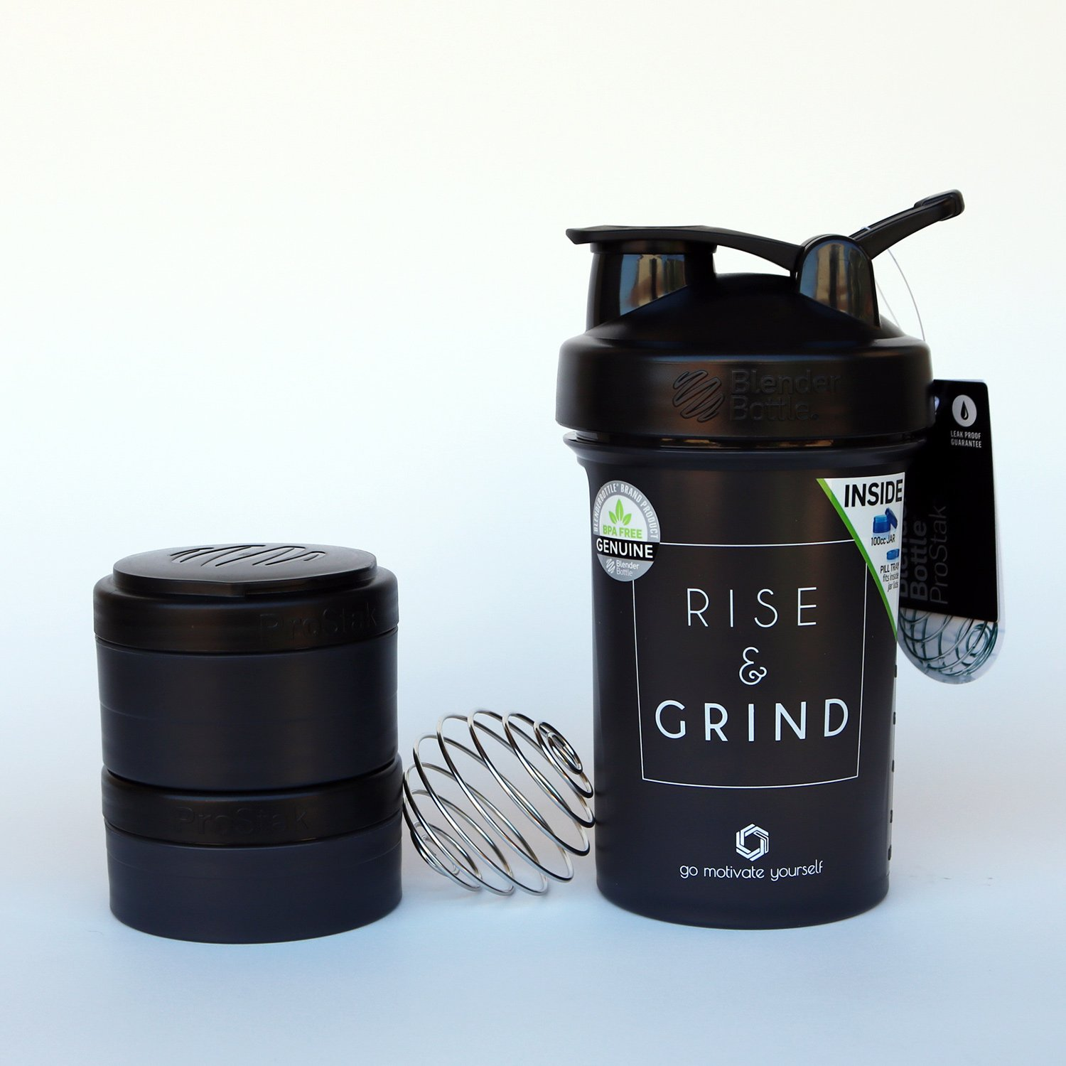 Protein Shaker Bottle with BlenderBall Whisk and 2 Twist n/' Lock Attachable containers BlenderBottle 22-oz GOMOYO Motivational Quote on Blender Bottle Brand ProStak Shaker Cup