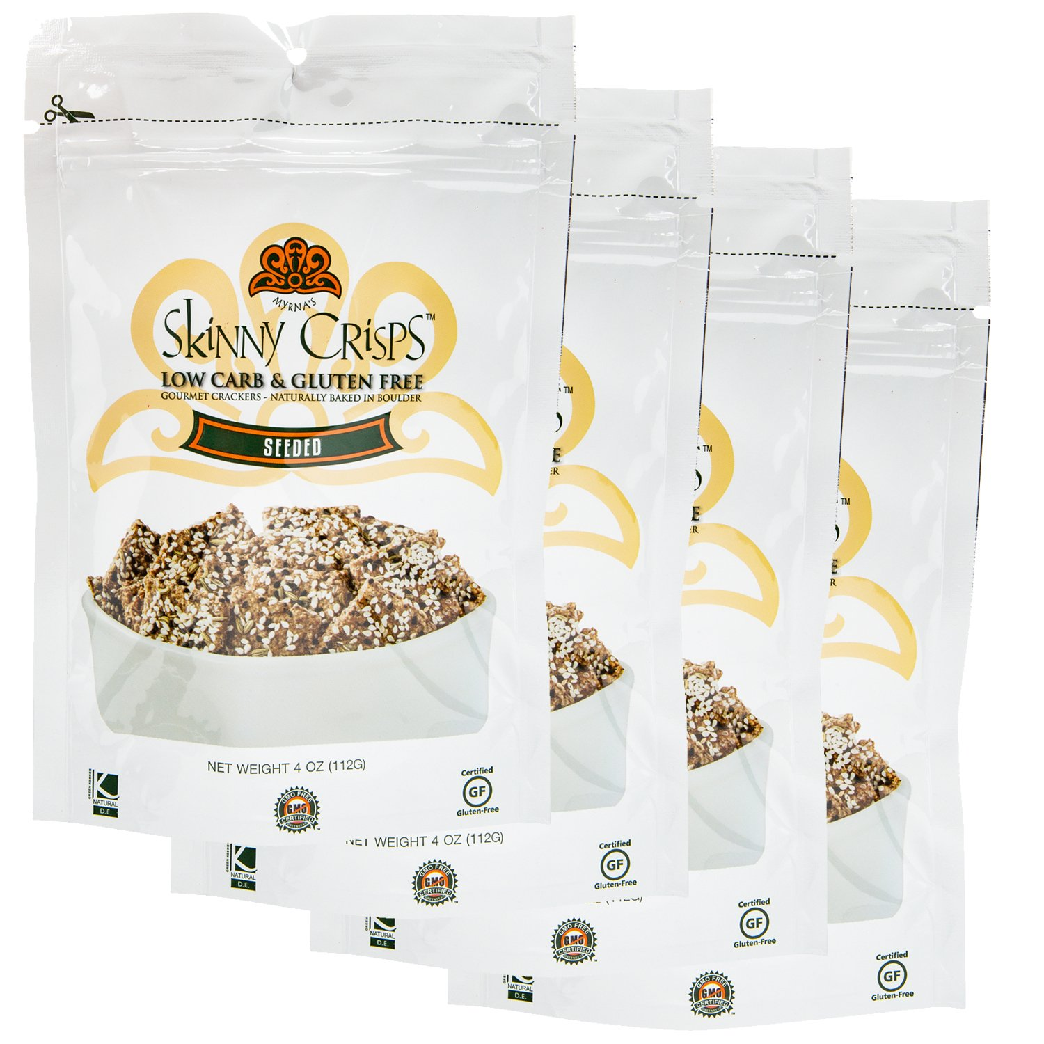 Seeded Crackers Value Pack: Low Carb, Gluten Free, Vegan, Kosher, Keto Freindly Crackers 4 Oz Bag (Pack of 4) by Skinny Crisps (Image #9)