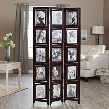 Finley Home Memories Double Sided Photo Frame Room Divider - Rosewood 3 Panel - 8 x 10