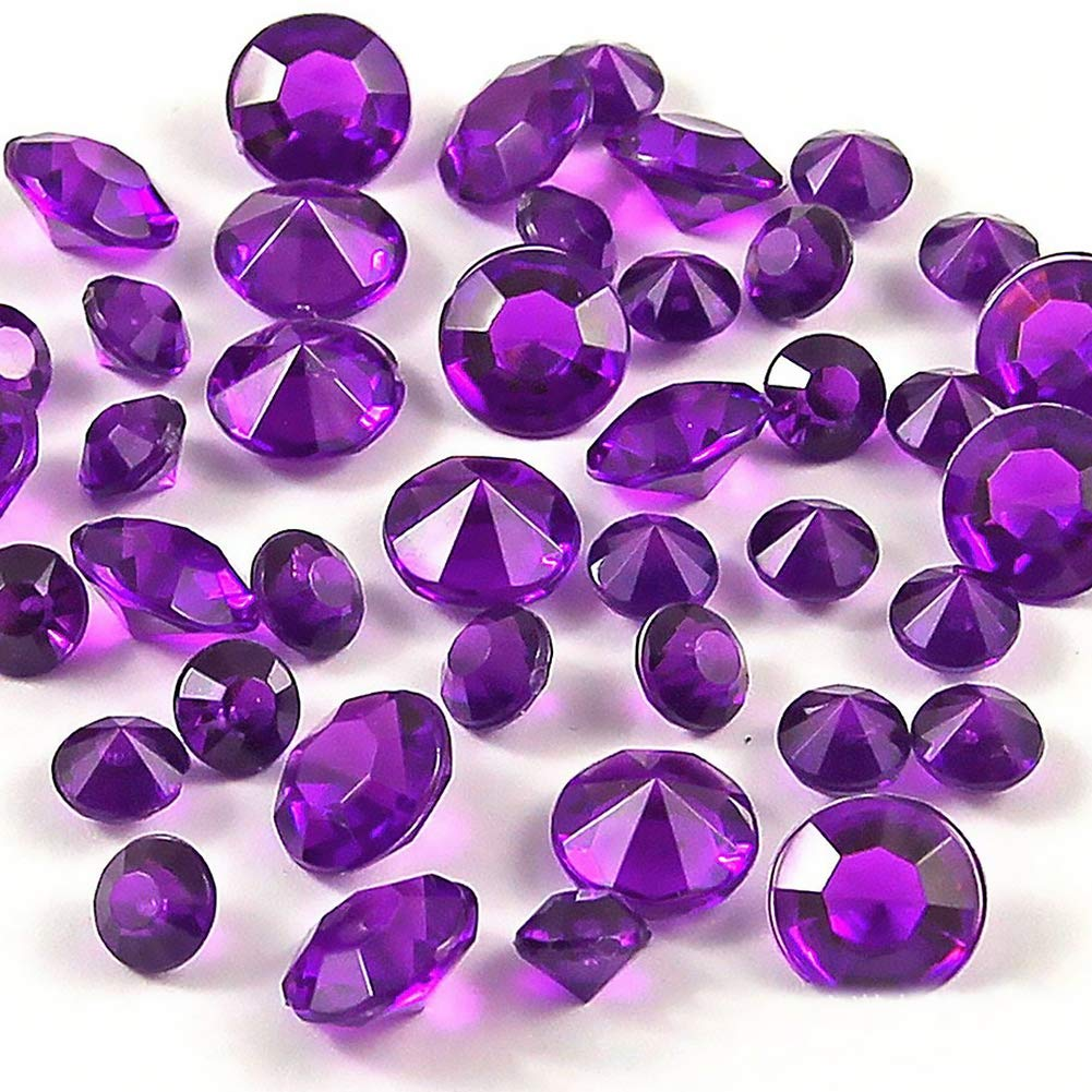YaptheS Acrylic Clear Crystals Wedding Table Scattering Crystals Diamonds Gemstones Wedding Bridal Shower Party Decorations Vase Fillers Dark Purple 5000pcs Office Supplies