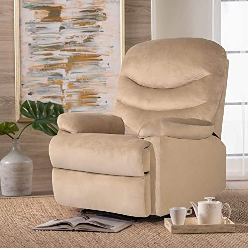 JUMMICO Home Recliner Chair Super Soft Short Fluff Sofa Adjustable Theater Seating Single Recliner Classic Lounge Living Room Chair with Three Section Cushion