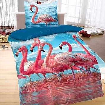 Baumwoll Satin Bettwäsche Wende 135x200 2 Teilig Tiere Flamingo