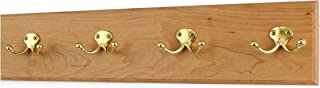 "product image for Cherry Coat Rack with Solid Brass Double Style Hooks 4.5"" Ultra Wide (Natural, 20"" x 4.5"" with 4 Hooks)"