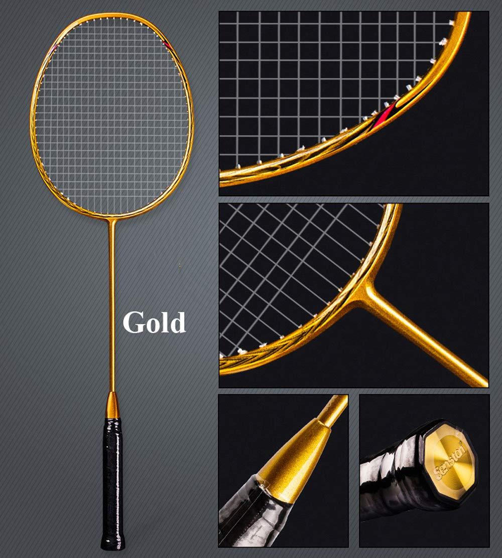 Senston N80 Graphite High-Grade Badminton Racquet,Professional Carbon Fiber Badminton Racket Included Black Gold Color Rackets 2 Carrying Bag by Senston (Image #3)