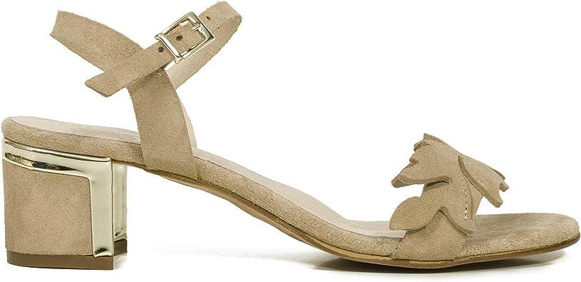 Hoja Sandalias tacón Tira Hoja Beige: Amazon.es: Zapatos y complementos