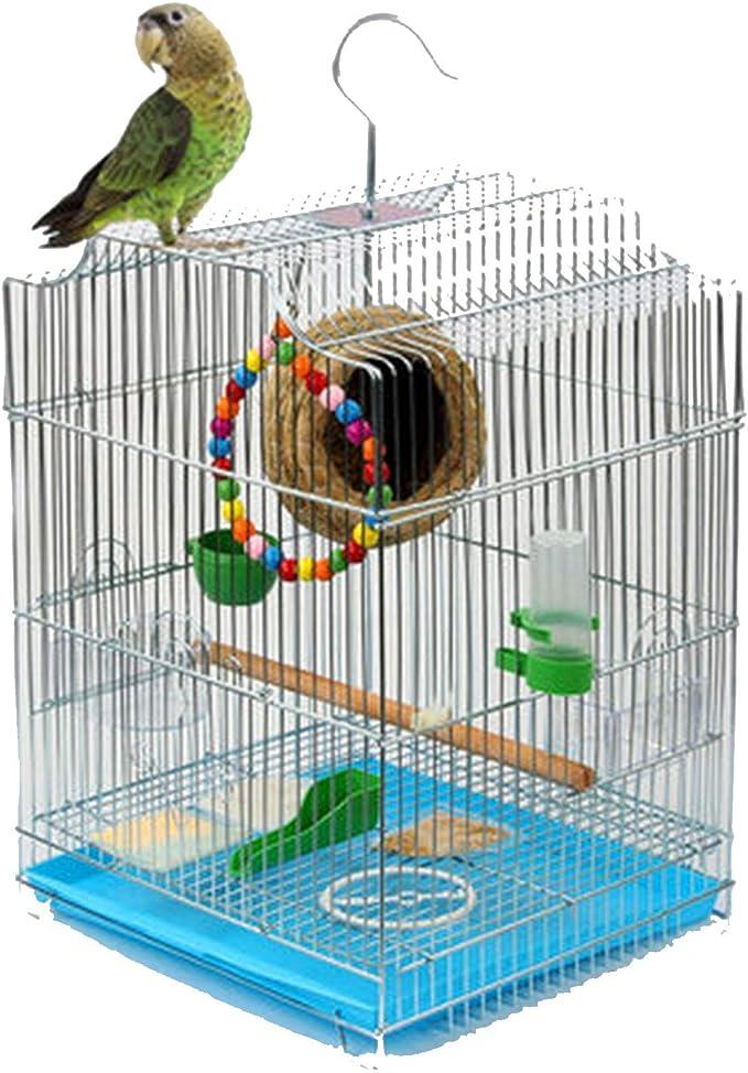 TWW Chapado En Metal Jaula para Pájaros Loro Jaula para Pájaros Gran Estornino Jaula Cardenal Hierro Forjado Color Acero Inoxidable Jaula para Pájaros Hogar 33 * 30 * 44 Cm,B