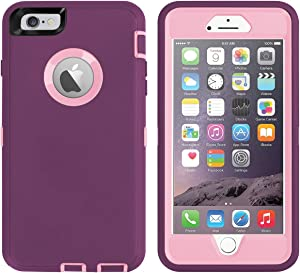 AICase iPhone 6 Plus Case,iPhone 6S Plus Case [Heavy Duty] Built-in Screen Protector Tough 4 in 1 Rugged Shockproof Cover for Apple iPhone 6 Plus / 6S Plus (Pink/Purple)