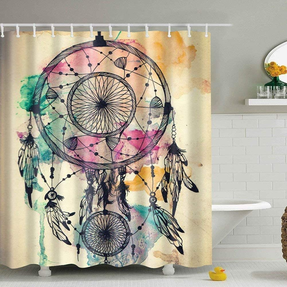 LIVILAN Geometric Shower Curtain Set with 12 Hooks Thick Fabric Bathroom Curtain Colorful Shower Curtain Home Decoration 70.87 X 70.87