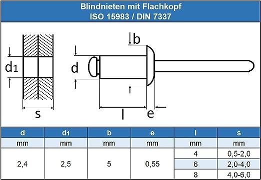 ISO 15983 30 St/ück 5 x 12 mm Blindniet Niet - mit Flachkopf Popnieten DIN 7337 rostfrei Edelstahl A2 V2A Eisenwaren2000
