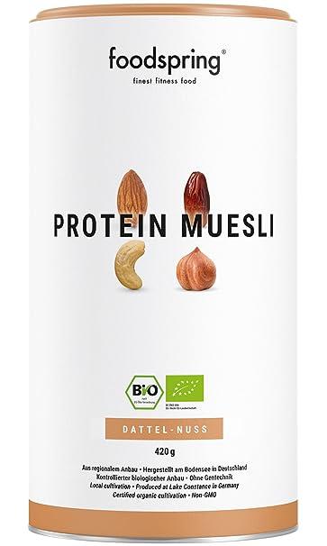 foodspring Muesli Proteico, 420g, Dátiles-Frutos secos, Muesli proteico con finos copos