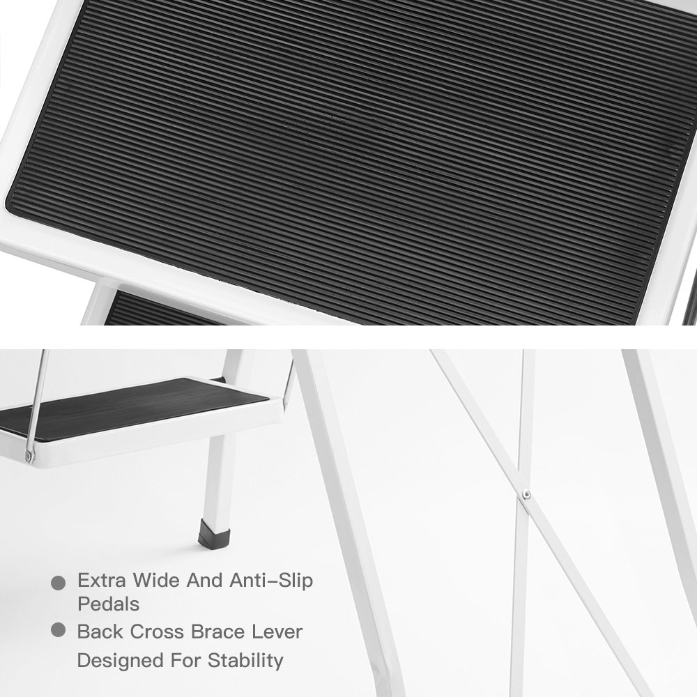 Delxo Folding 4 Step Ladder Ladder With Convenient Handgrip Anti-Slip Sturdy and Wide Pedal 330lbs Portable Steel Step Stool White and Black 4-Feet (WK2040-3) by Delxo (Image #3)