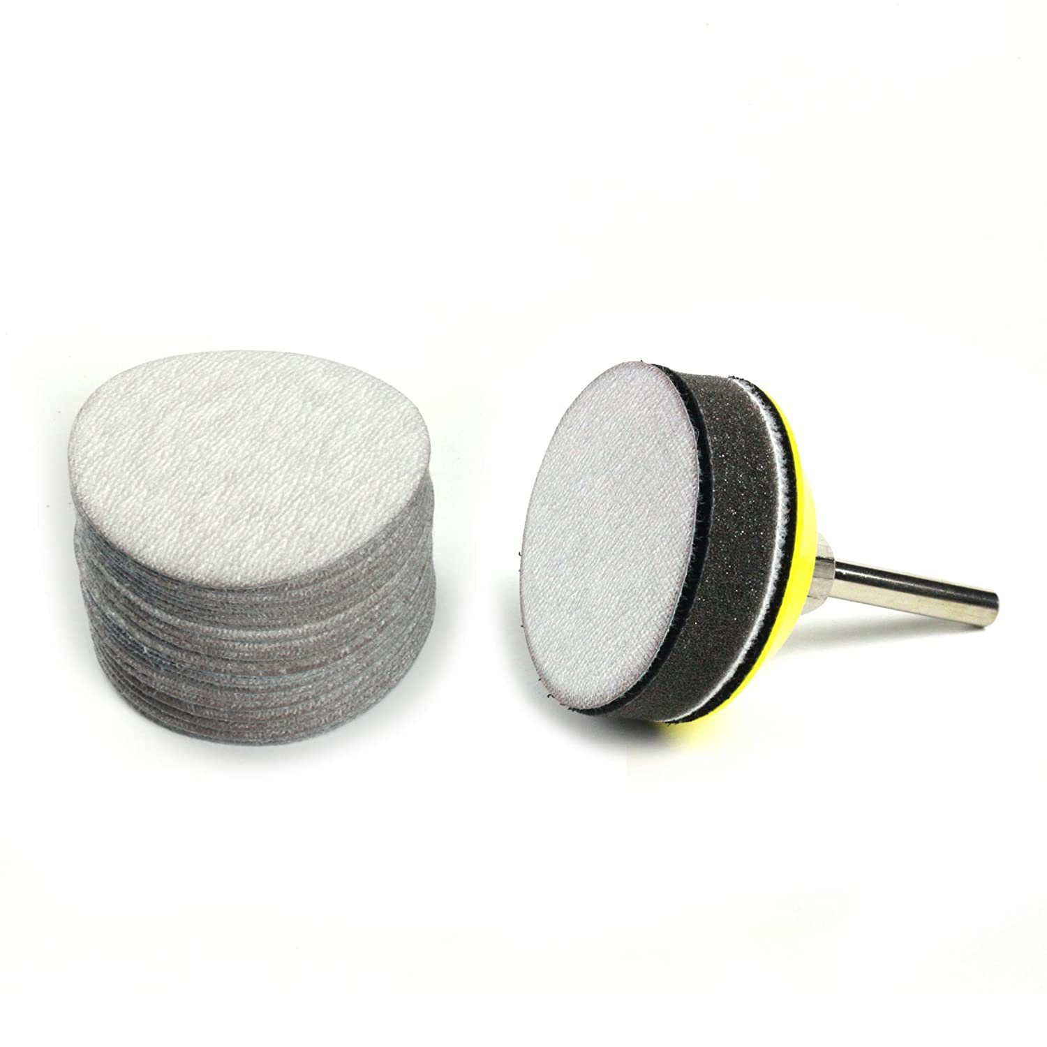 30-Pack 2-Inch 3000 Grit Aluminum Oxide Wet//Dry Hook and Loop Sanding Discs with a 6mm Shank Backing Pad Soft Sponge Buffering Pad for DIY Woodworking