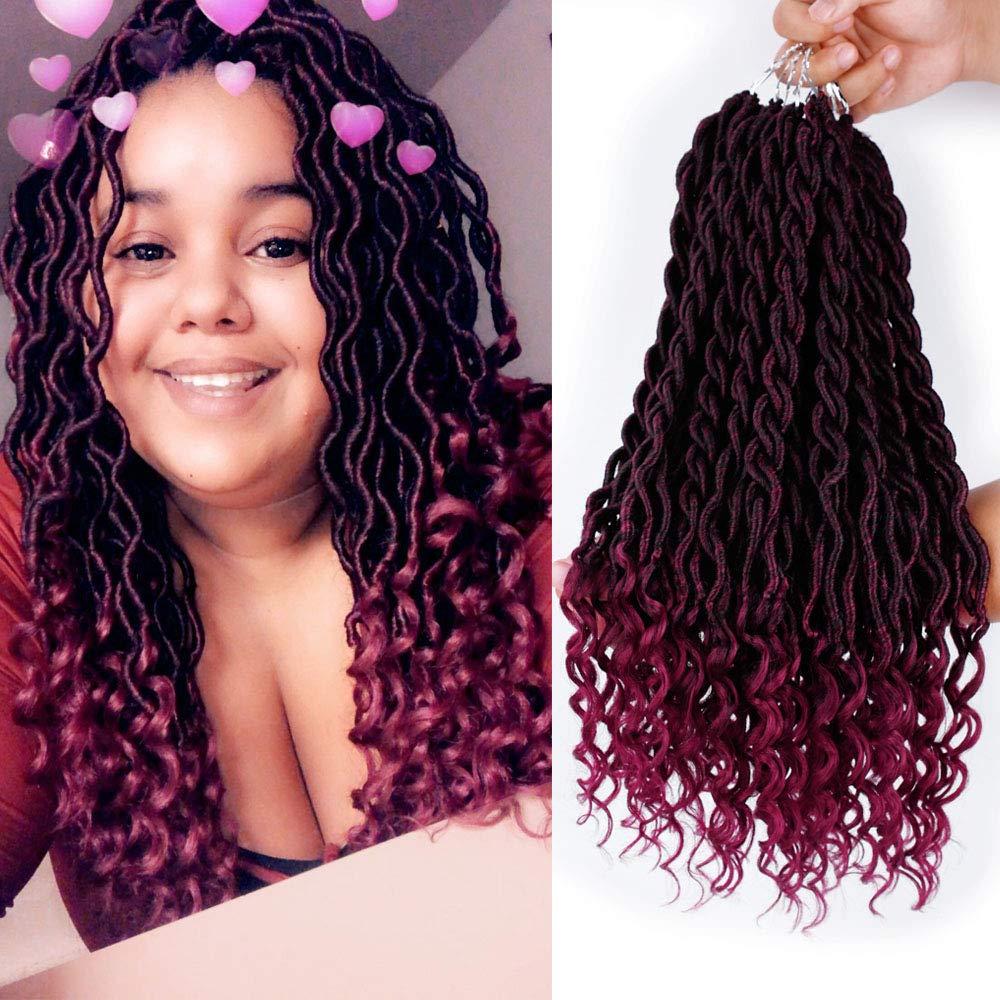6 Packs 20Inch Faux Locs Crochet Hair Synthetic Goddess Braid Twist Crochet Hair Curly Ends Twist Braid Hair Extensions(T1B-BUG) by GX Beauty