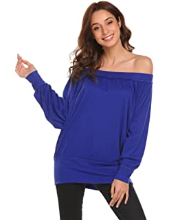 be2b62b14c7061 Meaneor Damen Pullover Schräg Shoulder Bat Sleeves Pull Sweatshirt Tuniken  Schulterfrei T-Shirt Langarmhemd einfarbig