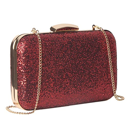 5bc8f8c375 M10M15 Women Red Glitter Clutch Purse Handbag in Hardcase with Strap Chain  for Wedding and Party  Handbags  Amazon.com