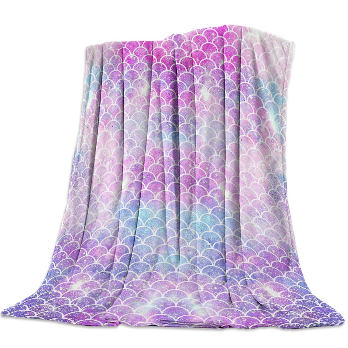 T&H Home Artistic Blanket, Ombre Beauty Mermaid Fish Scale Soft Flannel Fleece Bedding Blanket for Couch, Throw Blanket for Cover Men Women Aults Kids Girls Boys 60''x80''