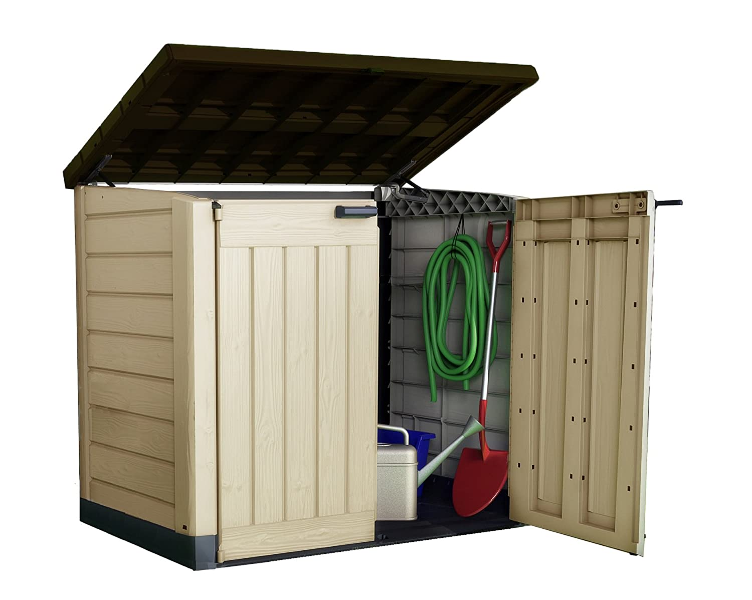 Keter Store It Out Max Outdoor Plastic Garden Storage Shed, 145.5 X 82 X  125 Cm   Beige/Brown: Amazon.co.uk: Garden U0026 Outdoors