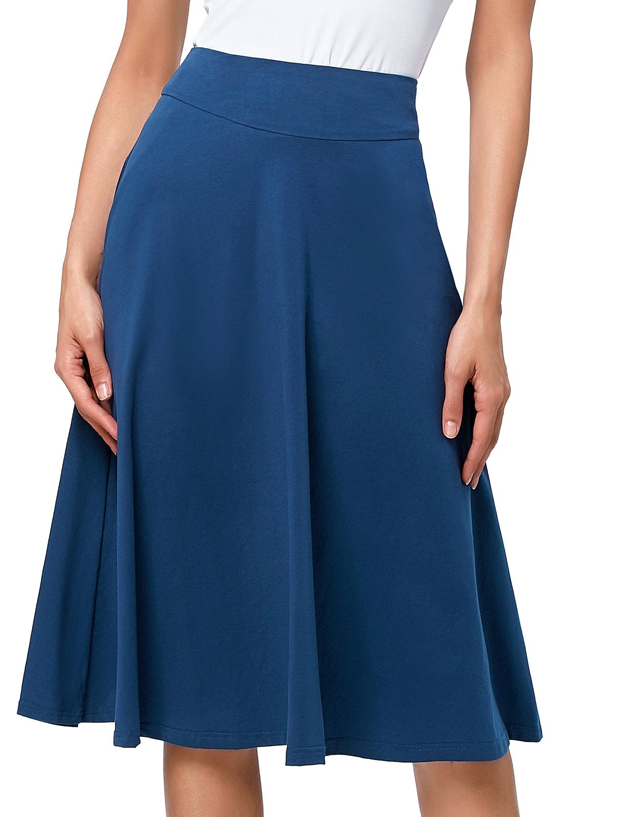 Elegant Swing A Line Skirts Women Knee Length (L, Yale Blue)