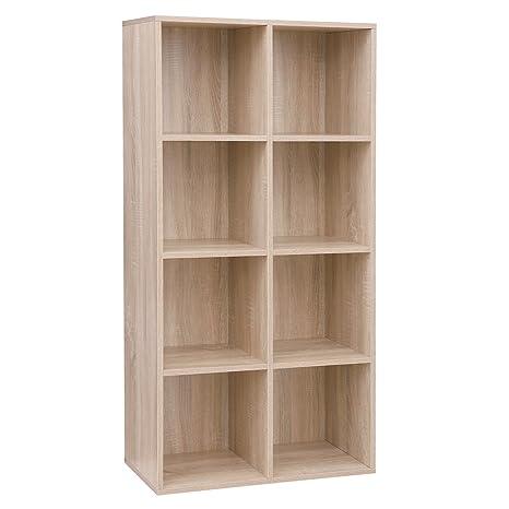 online store ef3ec 384d8 VASAGLE 8 Cube Storage Bookshelf, Wooden Bookcase and Display Shelf,  Freestanding Cabinet Unit for Office Home, Oak Colour LBC24NL