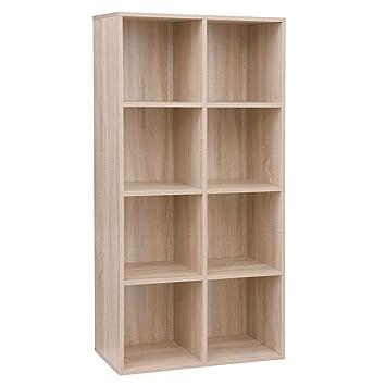 Vasagle Bibliotheque En Bois Etagere A 4 Niveaux 8 Compartiments