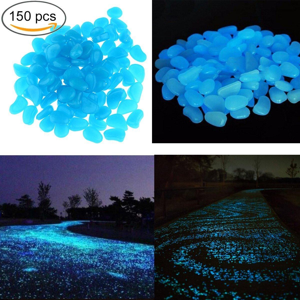 150pcs Glow in the Dark Garden Pebbles for Walkways & Decor and Plants Luminous Stones in Blue