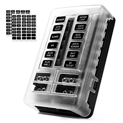 MNJ Motor 12-Way Fuse Box Holder with LED Indicator, Waterproof 12-Circuit Blade Fuse Block 30A Per Circuit Durable Protection Cover Sticker Label for Automotive Car Boat Marine SUV: Automotive