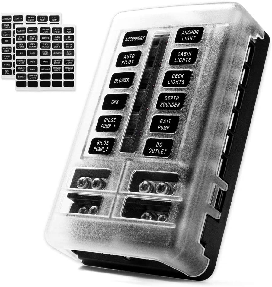 Amazon.com: MNJ Motor 12-Way Fuse Box Holder with LED Indicator, Waterproof  12-Circuit Blade Fuse Block 30A Per Circuit Durable Protection Cover  Sticker Label for Automotive Car Boat Marine SUV: Automotive   Pump Fuse Box      Amazon.com