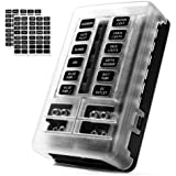 MNJ Motor 12-Way Fuse Box Holder with LED Indicator, Waterproof 12-Circuit Blade Fuse Block 30A Per Circuit Durable Protectio
