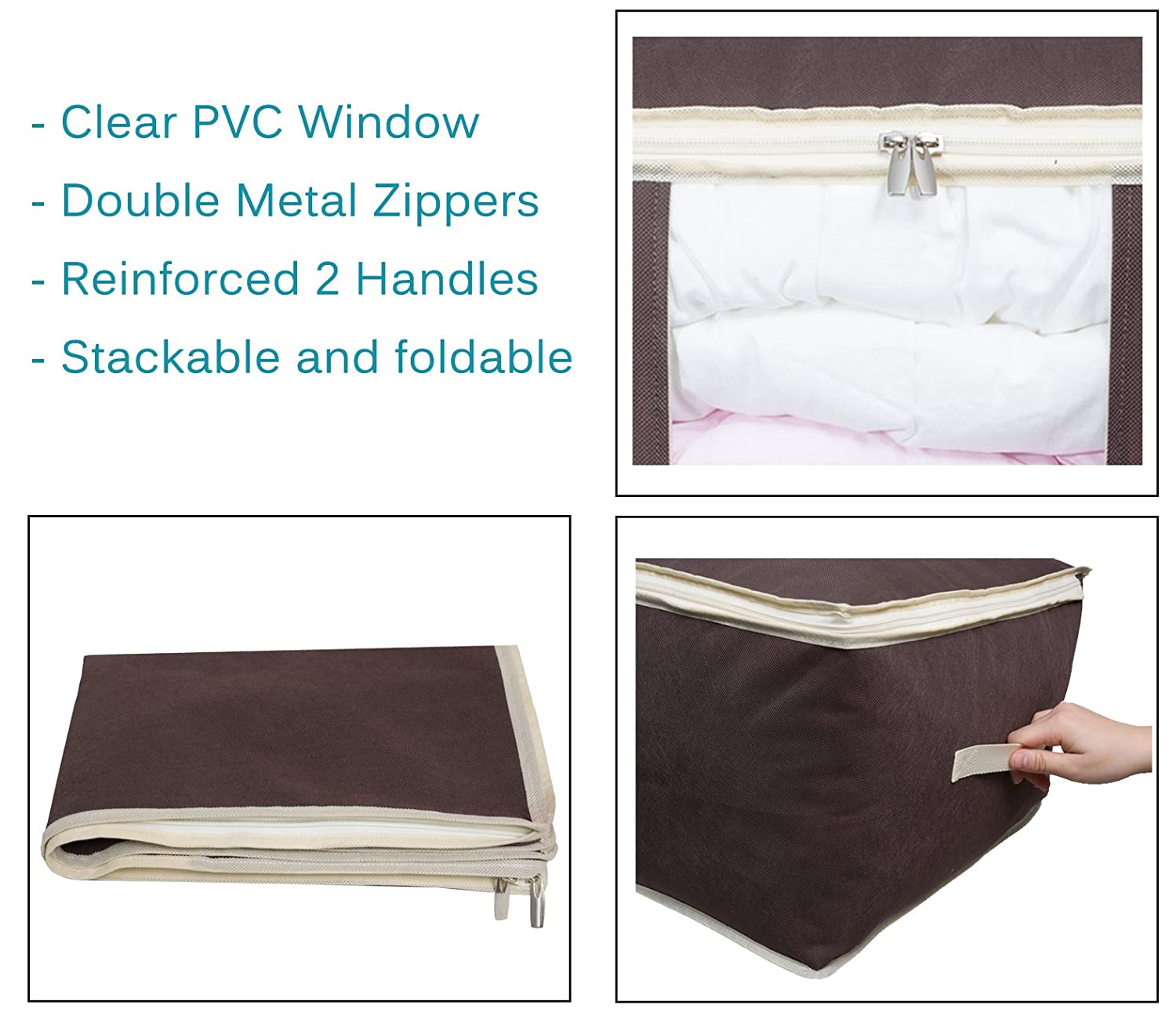 Shelves Jumbo Blanket Storage Bag Organizer Comforter Clothes Storage Containers Tidy Up Your Closets Transparent Window Bedrooms