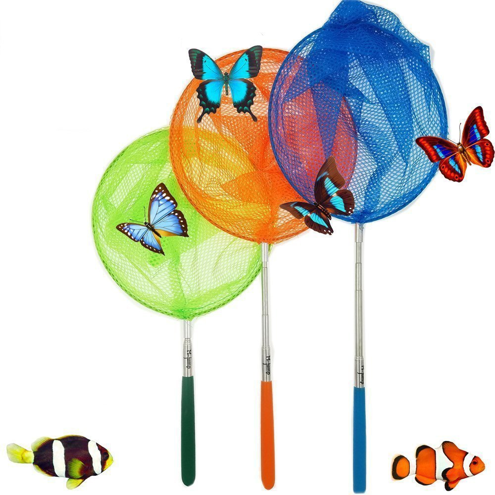 "#1 M-jump 3 Pack Colored Telescopic Butterfly Nets - Great for Catching Insects Bugs Fishing - Outdoor Toy for Kids Playing - Extendable from 6.8"" to 34"""