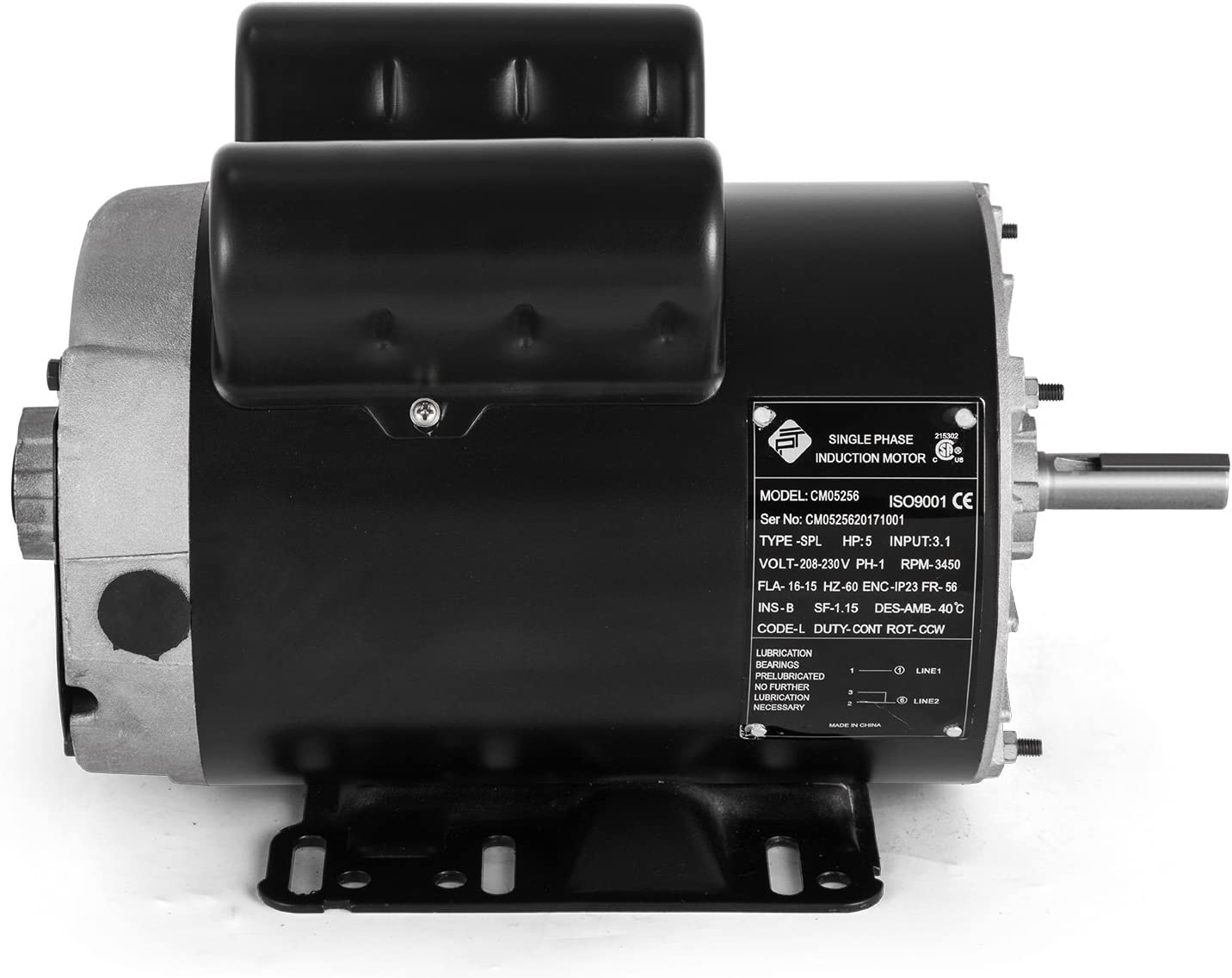 5 HP SPL 3450 Air Compressor Electric Motor 208-230 replacement CM05256