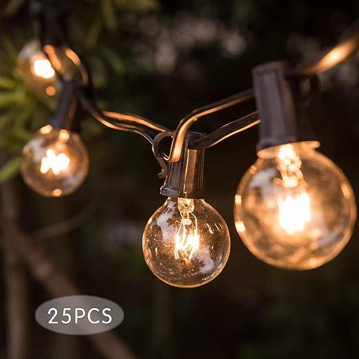 Guirnalda ligera, guirnalda Krisvie, conectable con 25 bombillas G40, IP44 impermeable, interior y exterior para, Jardín, Fiesta, Navidad, Boda, Cumpleaños: Amazon.es: Iluminación