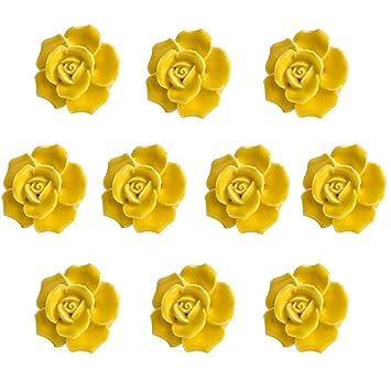 Agile-Shop 10 Pcs Ceramic Vintage Floral Rose Flower Door Knobs ...