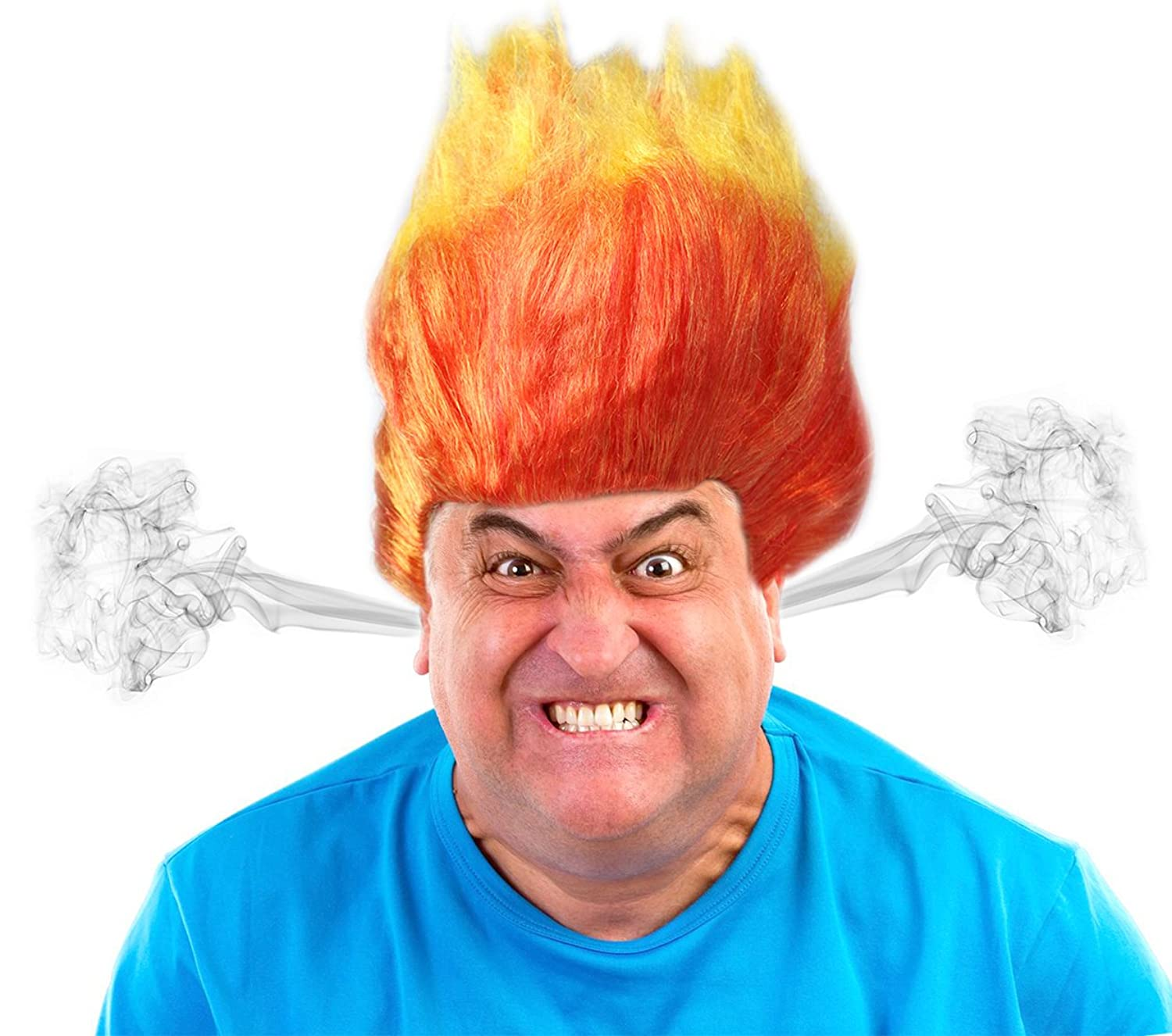 Anger Costume Wig Orange and Yellow Flame Wig Troll Wig