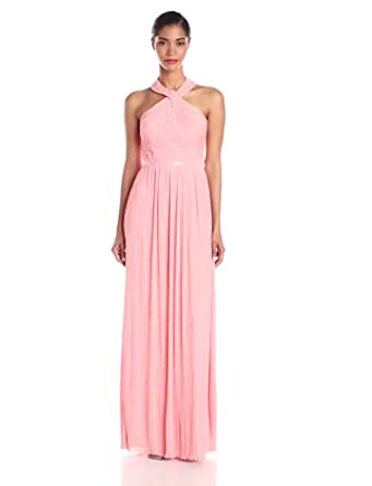 380dcd1ba2e4 Amazon.com  JS Boutique Women s Pleated Halter Gown with Beads  Clothing