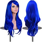 "EmaxDesign Wigs 70 cm / 28"" ~ High-Quality Cosplay Wig For Women. Long, Full, Curly, Wavy, & Heat Resistant. Fashion Glamour Hairpiece with Free Wig Cap & Wig Comb (Color: Dark Blue)"