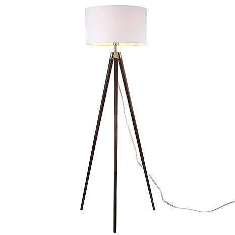 Light Society Celeste Tripod Floor Lamp Walnut Wood Legs With