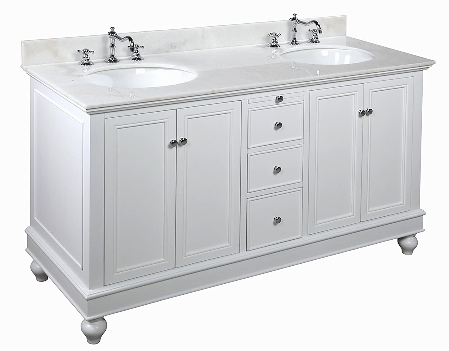 Low cost kitchen bath collection kbc222wtwt bella double sink bathroom vanity with marble for Double sink countertop bathroom