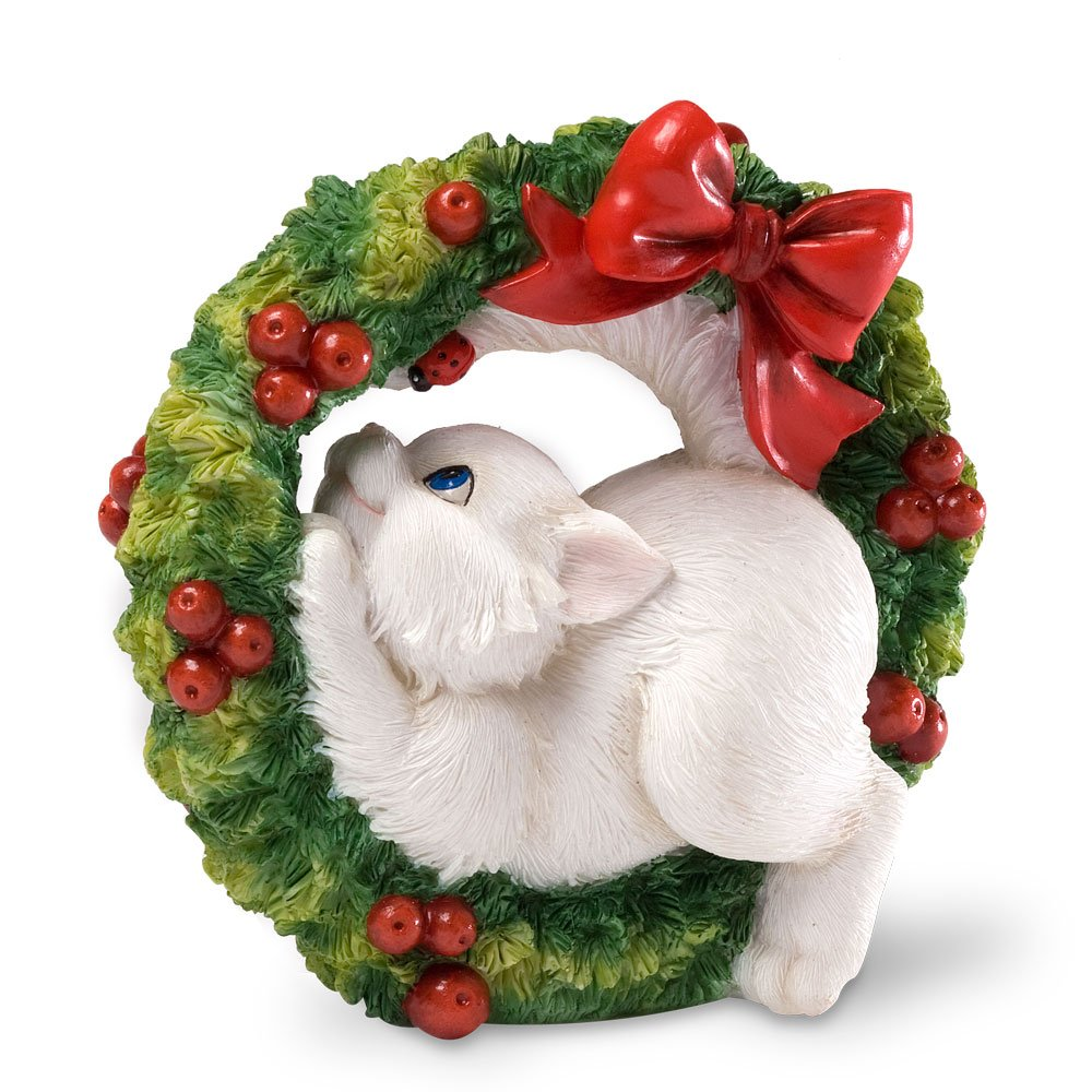 Enesco White Cat in Green Christmas Holiday Wreath with Red Bow Figurine
