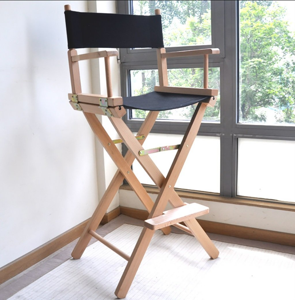 TYz Wooden Director Chair Canvas Folding Chair Portable High Makeup Chair Front Desk Chair Simple Bar Stool (Color : B)
