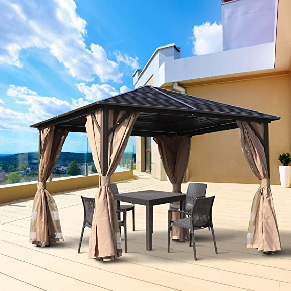 Outsunny – Carpa de jardín, Carpa para Fiestas, Carpa Plegable, 4 Partes Laterales Dobles, Impermeable, Ganchos para faroles, Aluminio + poliéster, marrón, Aprox. 3 x 3 x 2, 5 m.: Amazon.es: Jardín