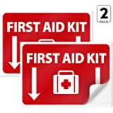 First Aid Kit Sign, (2 Pack) Sticker, 10x7 Inches, 4 Mil Vinyl Self Adhesive Durable Decal Stickers, Long Lasting…