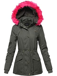3a21124b84b4 Made by Emma Women s Quilted Puffer Jacket with Detachable Faux Fur Hood